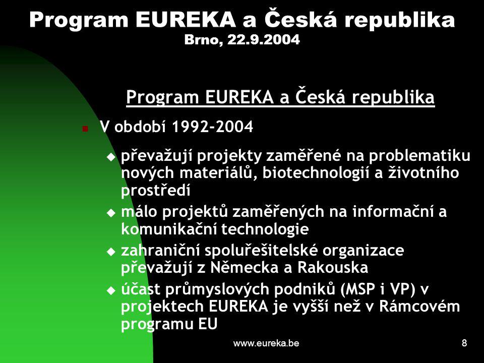 www.eureka.be9 Program EUREKA a Česká republika Brno, 22.9.2004 Přínosy programu EUREKA pro Českou republiku Stimulace a zapojení průmyslových podniků do řešení výzkumných projektů s vyšším stupněm inovace Podpora exportu výrobků a technologií s vysokou užitnou hodnotou Podněty pro výzkumnou sféru a motivace hledat komerční uplatnění výzkumných námětů a aktivit Reference pro zahraniční investory využívat české výzkumné aktivity a organizace