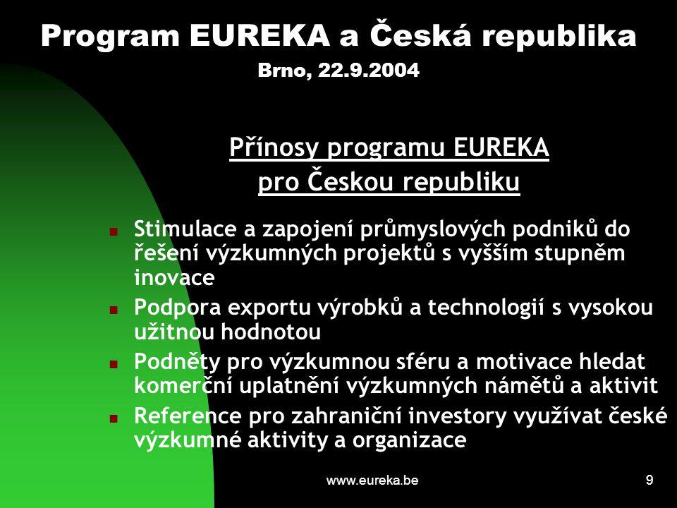 www.eureka.be10 Program EUREKA a Česká republika Brno, 22.9.2004 Pozice České republiky v programu EUREKA Aktivní přístup – více než polovina projektů s účastí českých organizací je generována českými subjekty Největší počet úspěšně předkládaných projektů (společně se Slovinskem) ze zemí SVE Opakované neformální vyzvání ČR předsedat programu EUREKA  zájem převzít předsednickou odpovědnost přednesen na MC v Madridu v roce 2001  oficiální žádost vyjádřena v roce 2003 a schválena na zasedání HLG v Kodani (červen 2003)