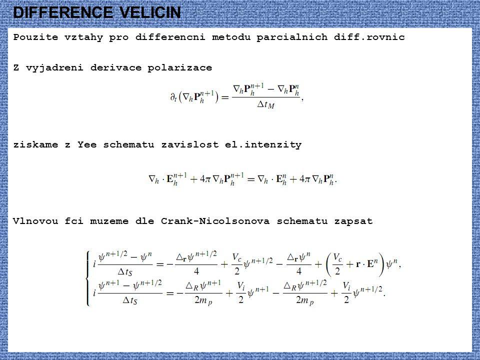 DIFFERENCE VELICIN Pouzite vztahy pro differencni metodu parcialnich diff.rovnic Z vyjadreni derivace polarizace ziskame z Yee schematu zavislost el.intenzity Vlnovou fci muzeme dle Crank-Nicolsonova schematu zapsat