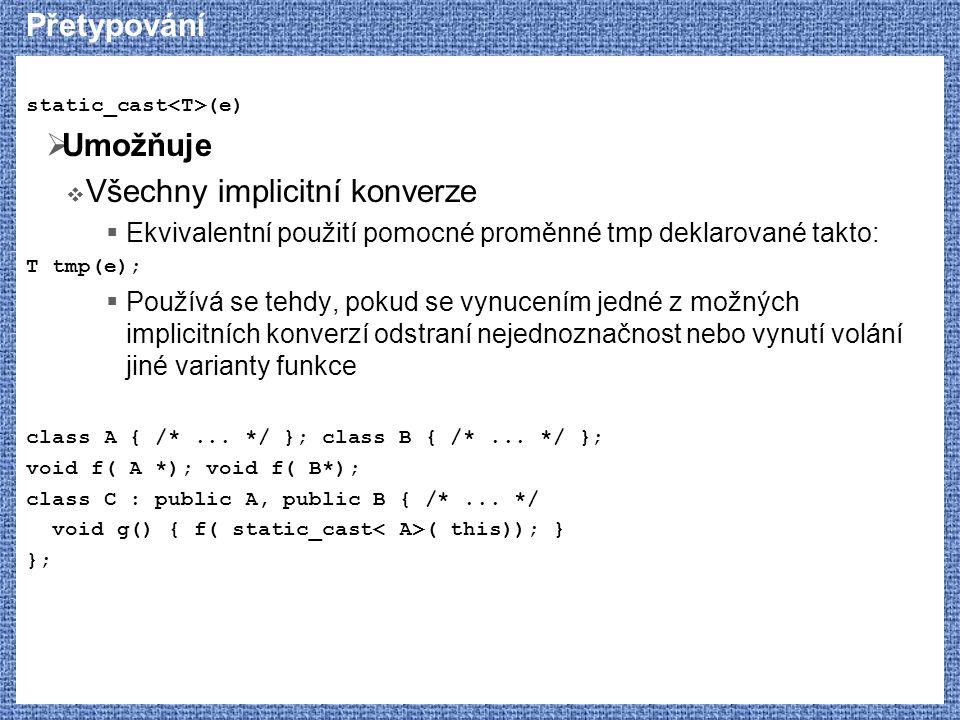 Přetypování static_cast (e)  Umožňuje  Všechny implicitní konverze  Ekvivalentní použití pomocné proměnné tmp deklarované takto: T tmp(e);  Používá se tehdy, pokud se vynucením jedné z možných implicitních konverzí odstraní nejednoznačnost nebo vynutí volání jiné varianty funkce class A { /*...