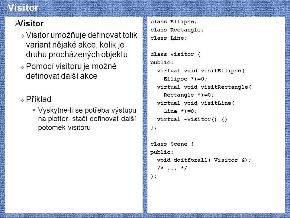 Visitor  Visitor  Visitor umožňuje definovat tolik variant nějaké akce, kolik je druhů procházených objektů  Pomocí visitoru je možné definovat další akce  Příklad  Vyskytne-li se potřeba výstupu na plotter, stačí definovat další potomek visitoru class Ellipse; class Rectangle; class Line; class Visitor { public: virtual void visitEllipse( Ellipse *)=0; virtual void visitRectangle( Rectangle *)=0; virtual void visitLine( Line *)=0; virtual ~Visitor() {} }; class Scene { public: void doitforall( Visitor &); /*...