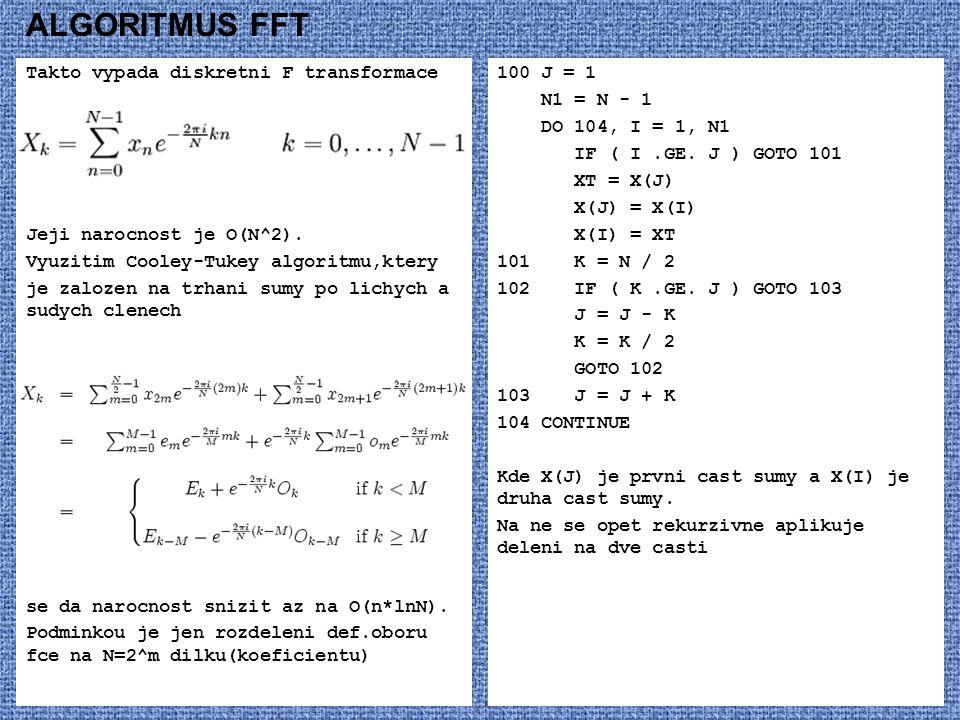 ALGORITMUS FFT Takto vypada diskretni F transformace Jeji narocnost je O(N^2).
