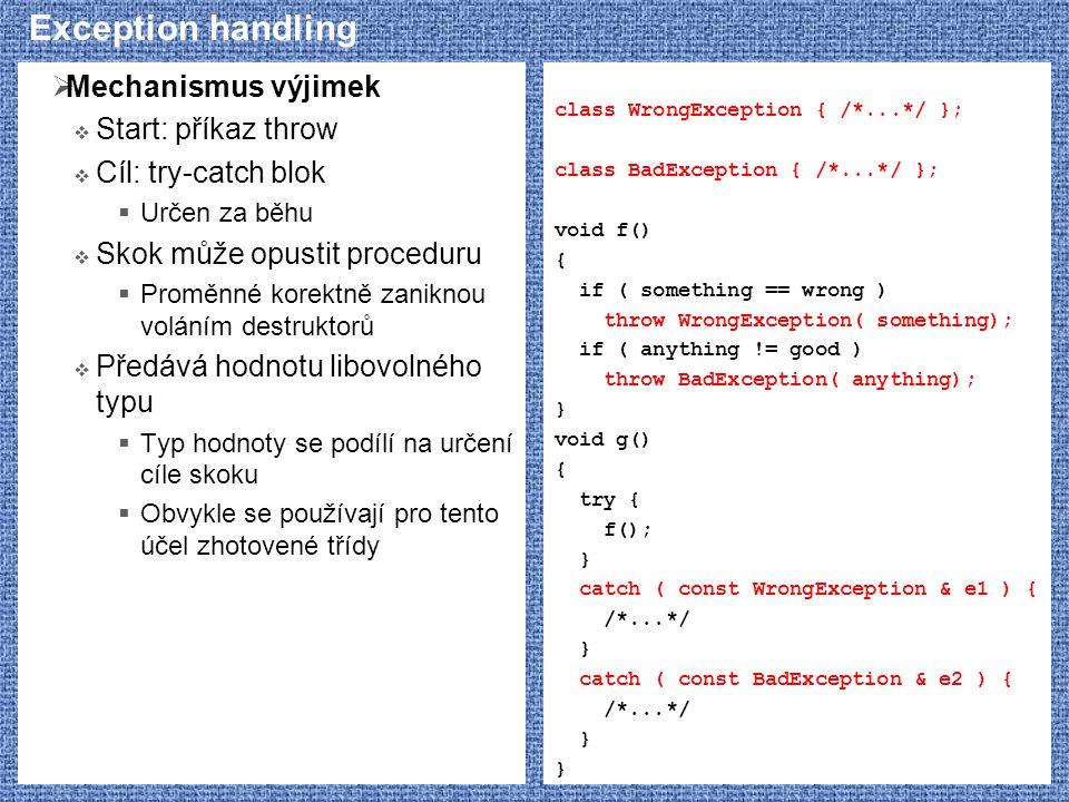 Exception handling  Mechanismus výjimek  Start: příkaz throw  Cíl: try-catch blok  Určen za běhu  Skok může opustit proceduru  Proměnné korektně zaniknou voláním destruktorů  Předává hodnotu libovolného typu  Typ hodnoty se podílí na určení cíle skoku  Obvykle se používají pro tento účel zhotovené třídy class WrongException { /*...*/ }; class BadException { /*...*/ }; void f() { if ( something == wrong ) throw WrongException( something); if ( anything != good ) throw BadException( anything); } void g() { try { f(); } catch ( const WrongException & e1 ) { /*...*/ } catch ( const BadException & e2 ) { /*...*/ }
