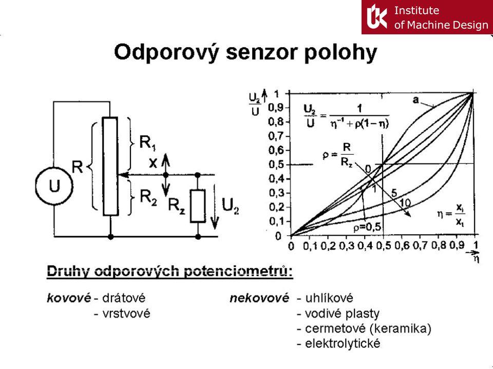 Technické parametry senzorů Statické: citlivost: ideální y =K.x, x – vstupní veličina, y – výstupní veličina práh citlivosti: signál na výstupu odpoví