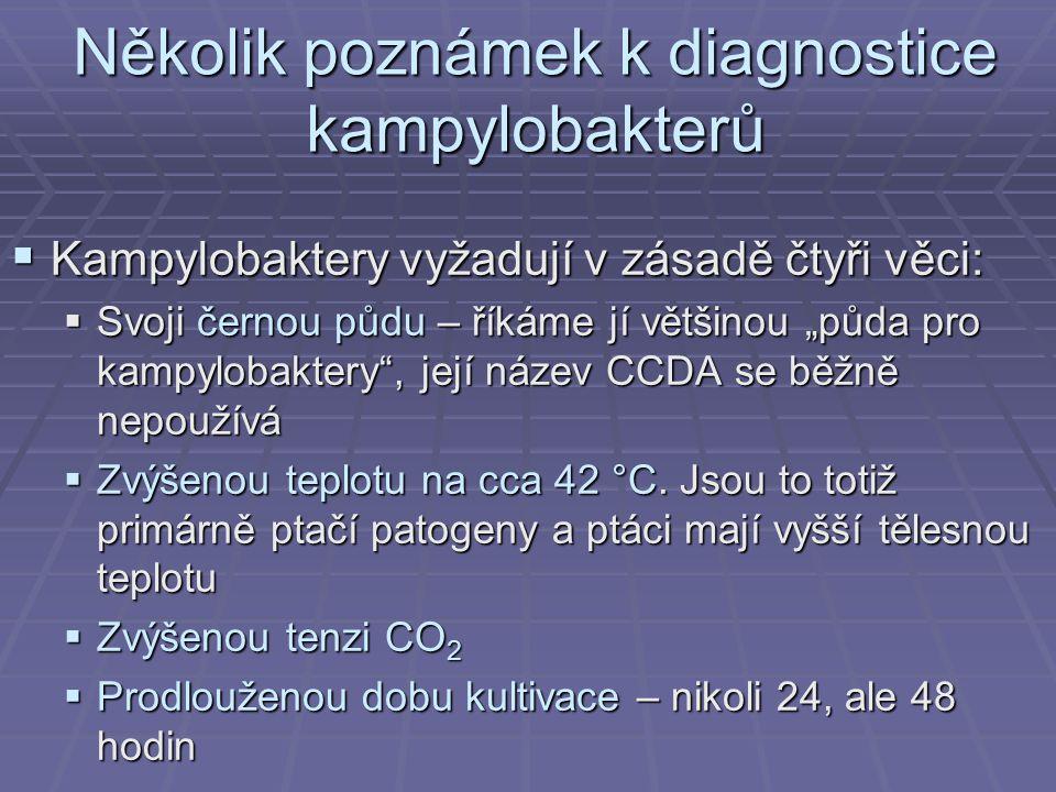 """Několik poznámek k diagnostice kampylobakterů  Kampylobaktery vyžadují v zásadě čtyři věci:  Svoji černou půdu – říkáme jí většinou """"půda pro kampylobaktery , její název CCDA se běžně nepoužívá  Zvýšenou teplotu na cca 42 °C."""