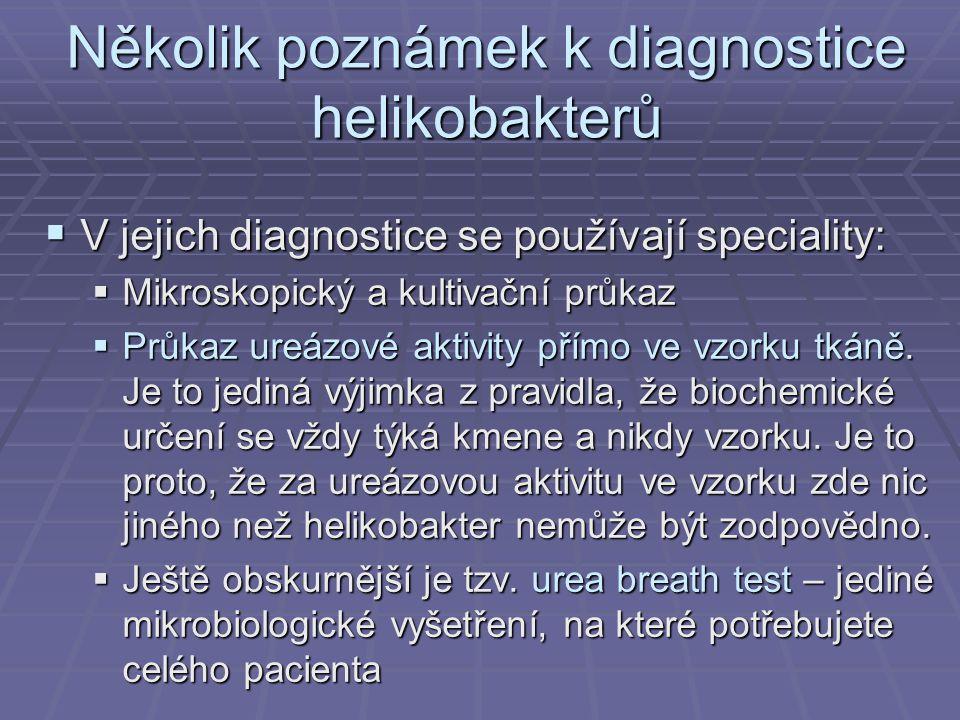 Několik poznámek k diagnostice helikobakterů  V jejich diagnostice se používají speciality:  Mikroskopický a kultivační průkaz  Průkaz ureázové akt