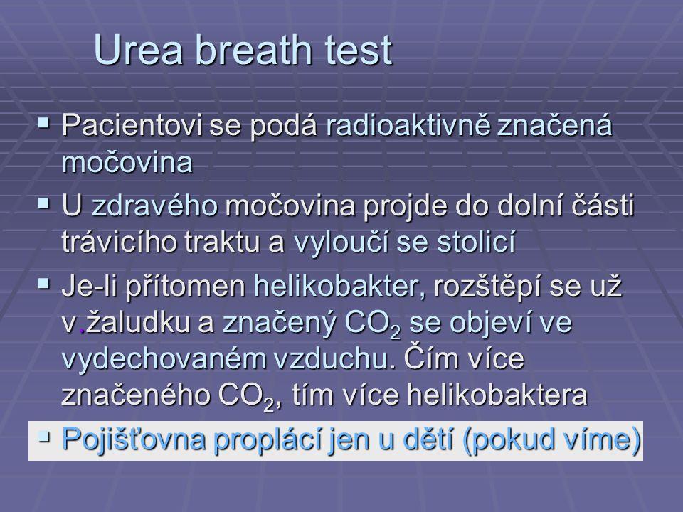 Urea breath test  Pacientovi se podá radioaktivně značená močovina  U zdravého močovina projde do dolní části trávicího traktu a vyloučí se stolicí  Je-li přítomen helikobakter, rozštěpí se už v.žaludku a značený CO 2 se objeví ve vydechovaném vzduchu.