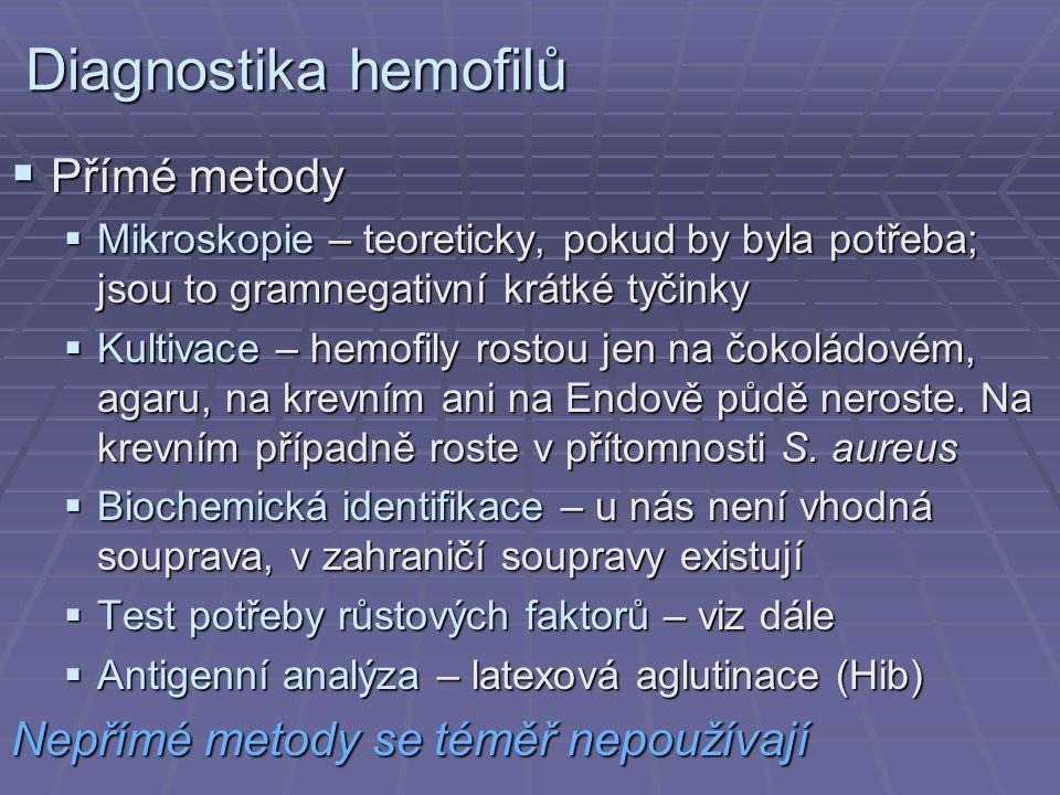 Diagnostika hemofilů  Přímé metody  Mikroskopie – teoreticky, pokud by byla potřeba; jsou to gramnegativní krátké tyčinky  Kultivace – hemofily ros