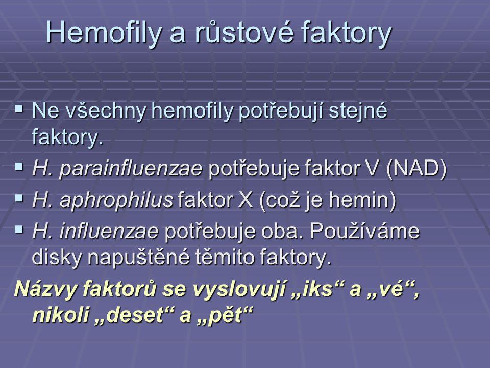Hemofily a růstové faktory  Ne všechny hemofily potřebují stejné faktory.  H. parainfluenzae potřebuje faktor V (NAD)  H. aphrophilus faktor X (což