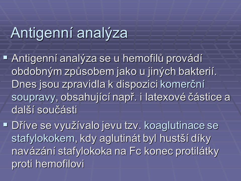 Antigenní analýza  Antigenní analýza se u hemofilů provádí obdobným způsobem jako u jiných bakterií. Dnes jsou zpravidla k dispozici komerční souprav
