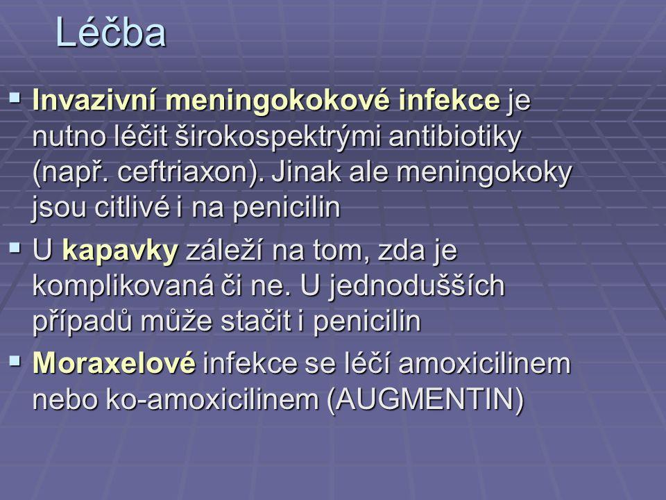Léčba  Invazivní meningokokové infekce je nutno léčit širokospektrými antibiotiky (např. ceftriaxon). Jinak ale meningokoky jsou citlivé i na penicil