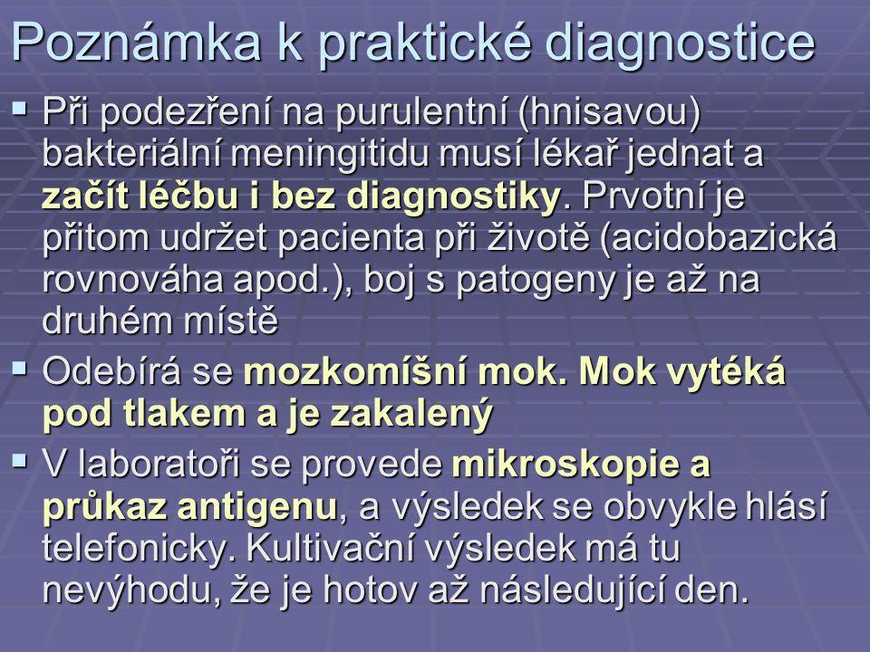 Poznámka k praktické diagnostice  Při podezření na purulentní (hnisavou) bakteriální meningitidu musí lékař jednat a začít léčbu i bez diagnostiky. P