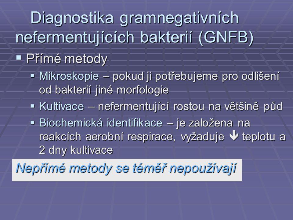 Diagnostika gramnegativních nefermentujících bakterií (GNFB)  Přímé metody  Mikroskopie – pokud ji potřebujeme pro odlišení od bakterií jiné morfologie  Kultivace – nefermentující rostou na většině půd  Biochemická identifikace – je založena na reakcích aerobní respirace, vyžaduje  teplotu a 2 dny kultivace Nepřímé metody se téměř nepoužívají