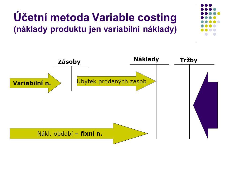 Zásoby Náklady Variabilní n. Nákl. období – fixní n. Úbytek prodaných zásob Tržby