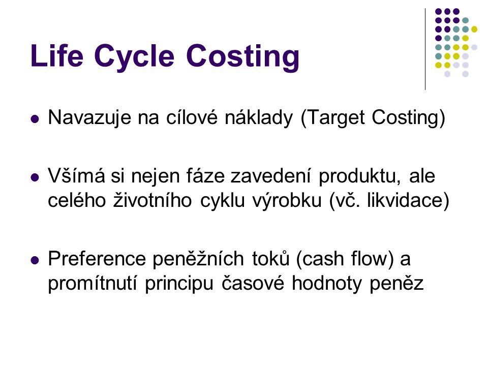 Life Cycle Costing Navazuje na cílové náklady (Target Costing) Všímá si nejen fáze zavedení produktu, ale celého životního cyklu výrobku (vč. likvidac