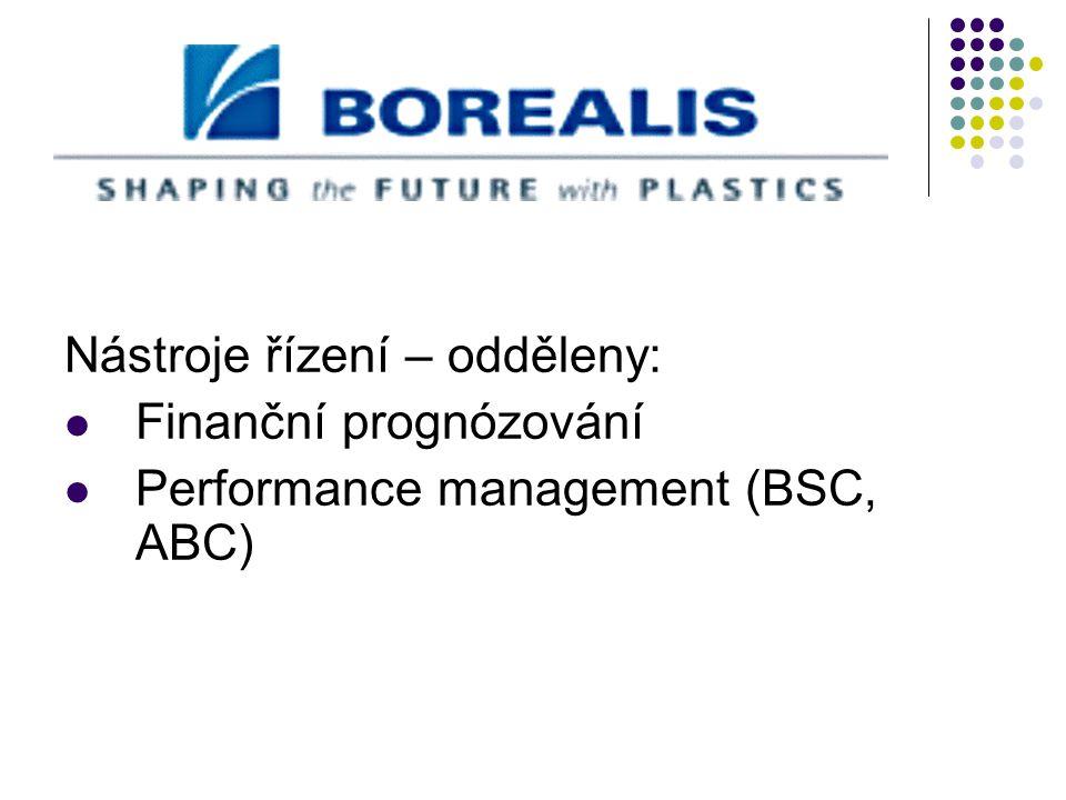 Nástroje řízení – odděleny: Finanční prognózování Performance management (BSC, ABC)