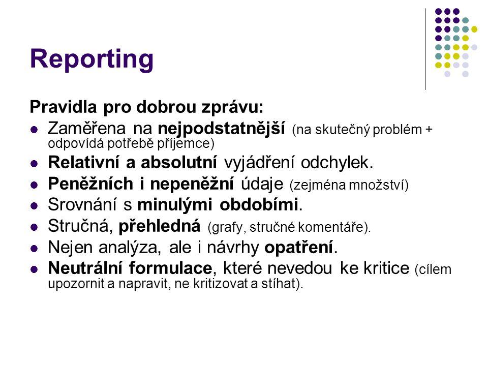 Reporting Pravidla pro dobrou zprávu: Zaměřena na nejpodstatnější (na skutečný problém + odpovídá potřebě příjemce) Relativní a absolutní vyjádření od