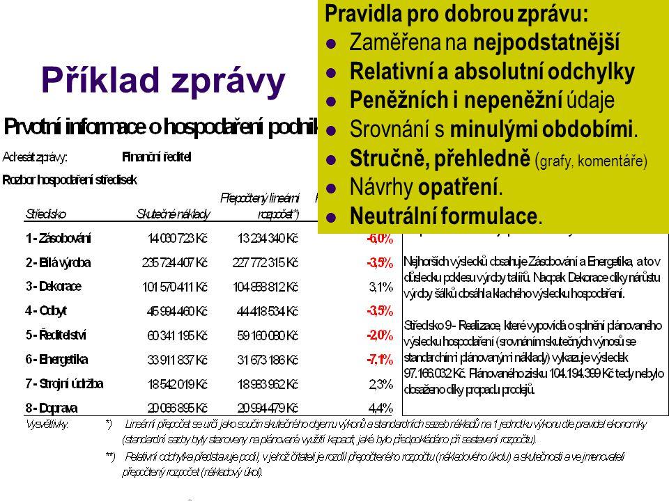 Příklad zprávy Pravidla pro dobrou zprávu: Zaměřena na nejpodstatnější Relativní a absolutní odchylky Peněžních i nepeněžní údaje Srovnání s minulými