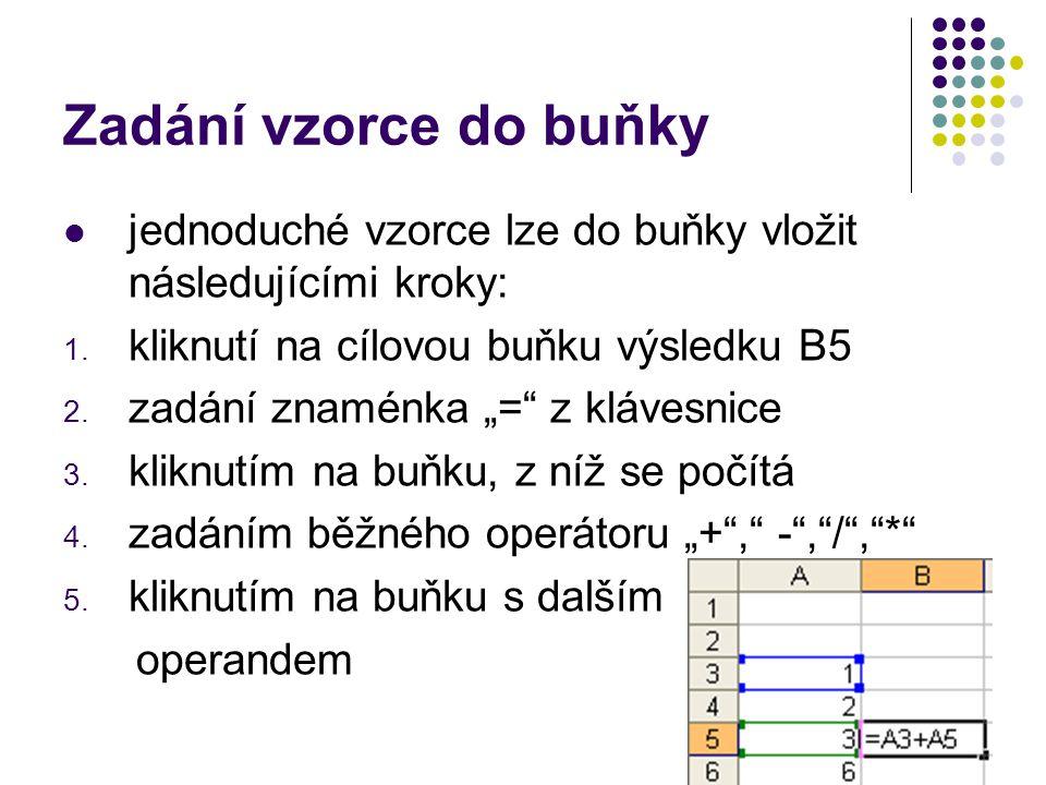 """Zadání vzorce do buňky jednoduché vzorce lze do buňky vložit následujícími kroky: 1. kliknutí na cílovou buňku výsledku B5 2. zadání znaménka """"="""" z kl"""