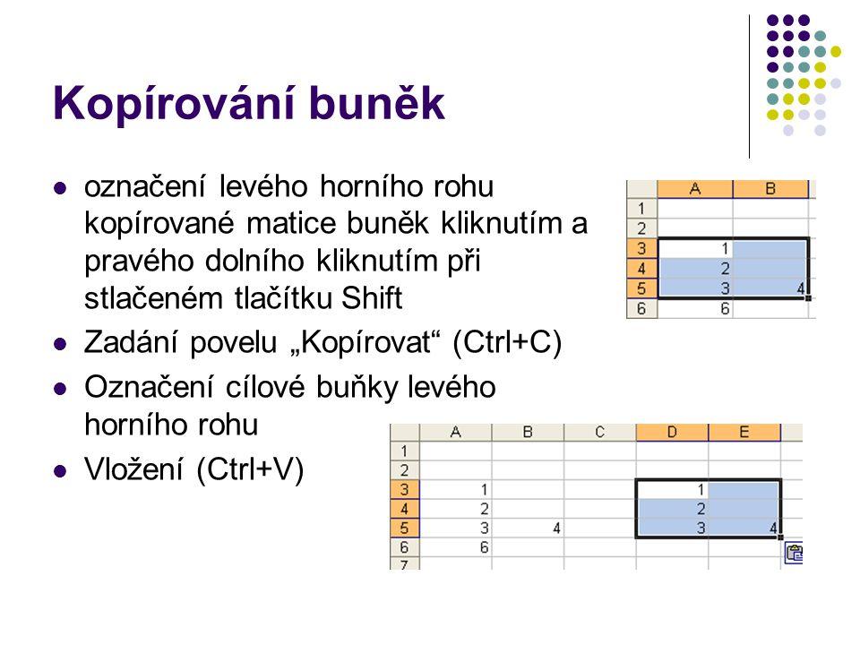 Kopírování buněk označení levého horního rohu kopírované matice buněk kliknutím a pravého dolního kliknutím při stlačeném tlačítku Shift Zadání povelu
