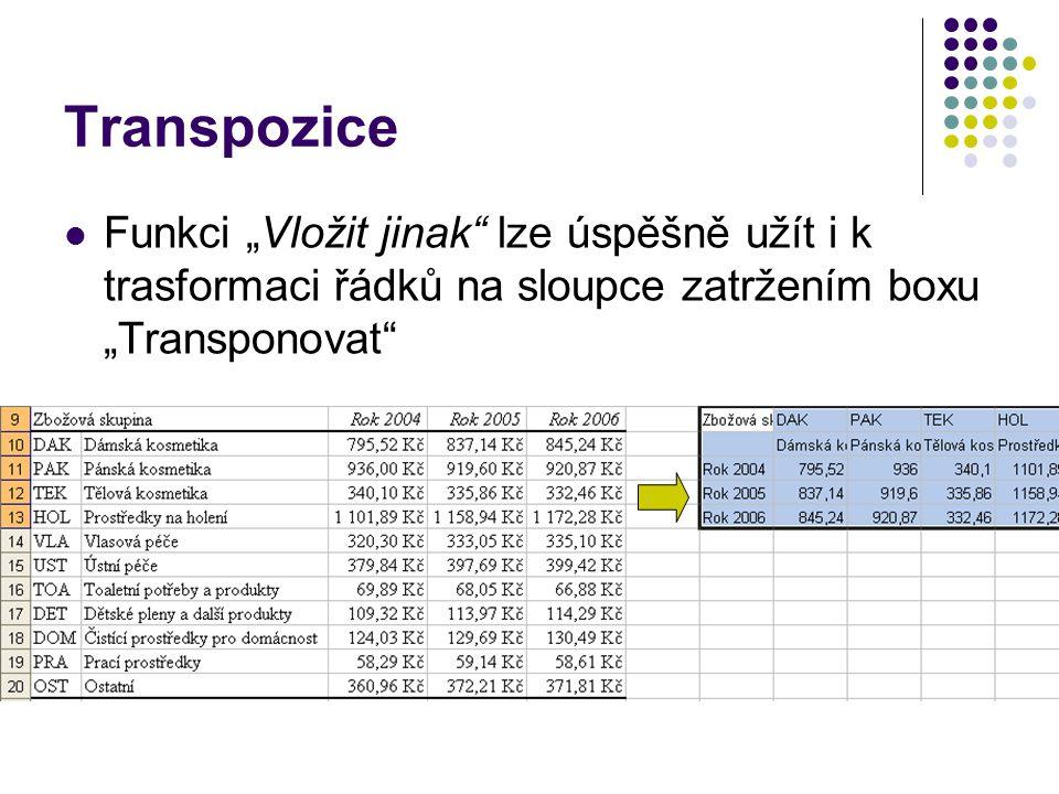 """Transpozice Funkci """"Vložit jinak"""" lze úspěšně užít i k trasformaci řádků na sloupce zatržením boxu """"Transponovat"""""""