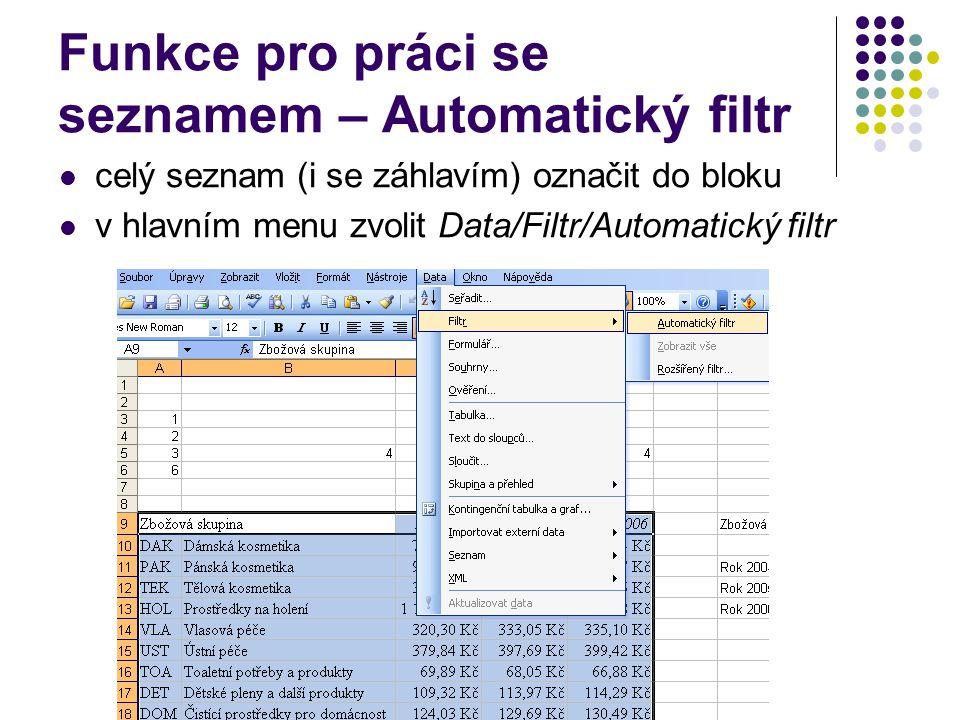 Funkce pro práci se seznamem – Automatický filtr celý seznam (i se záhlavím) označit do bloku v hlavním menu zvolit Data/Filtr/Automatický filtr