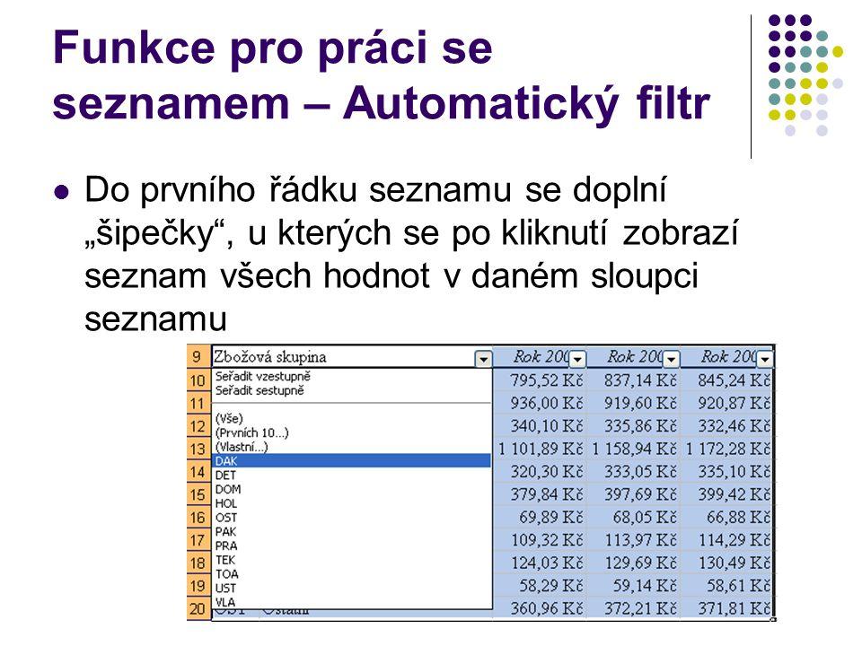"""Funkce pro práci se seznamem – Automatický filtr Do prvního řádku seznamu se doplní """"šipečky"""", u kterých se po kliknutí zobrazí seznam všech hodnot v"""