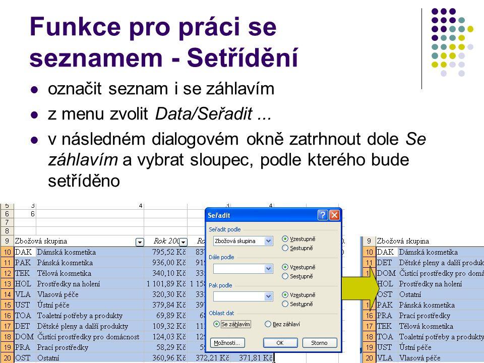 Funkce pro práci se seznamem - Setřídění označit seznam i se záhlavím z menu zvolit Data/Seřadit... v následném dialogovém okně zatrhnout dole Se záhl