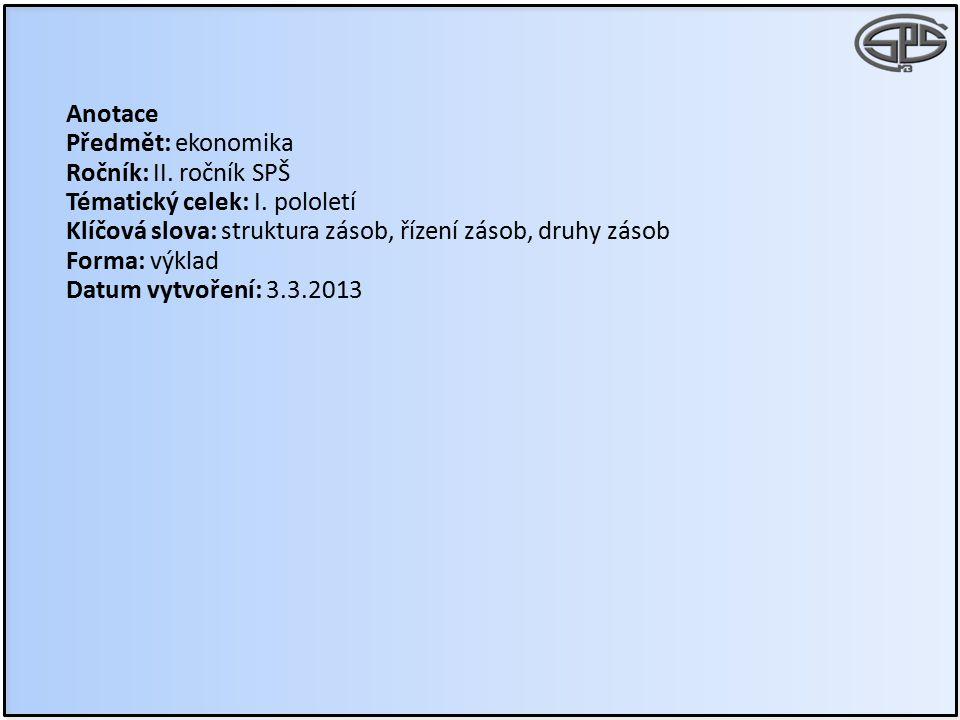Anotace Předmět: ekonomika Ročník: II. ročník SPŠ Tématický celek: I. pololetí Klíčová slova: struktura zásob, řízení zásob, druhy zásob Forma: výklad