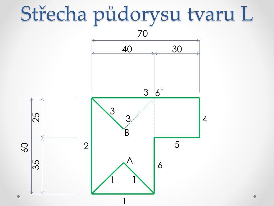 Střecha půdorysu tvaru L 70 3040 60 25 35 6 5 4 3 2 1 A 6´ B 1 1 3 3