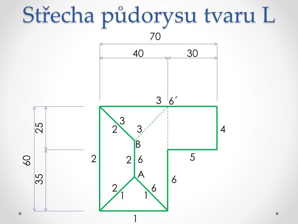 Střecha půdorysu tvaru L 70 3040 60 25 35 6 5 4 3 2 1 A 6´ B 1 1 3 3 2 2 2 6 6