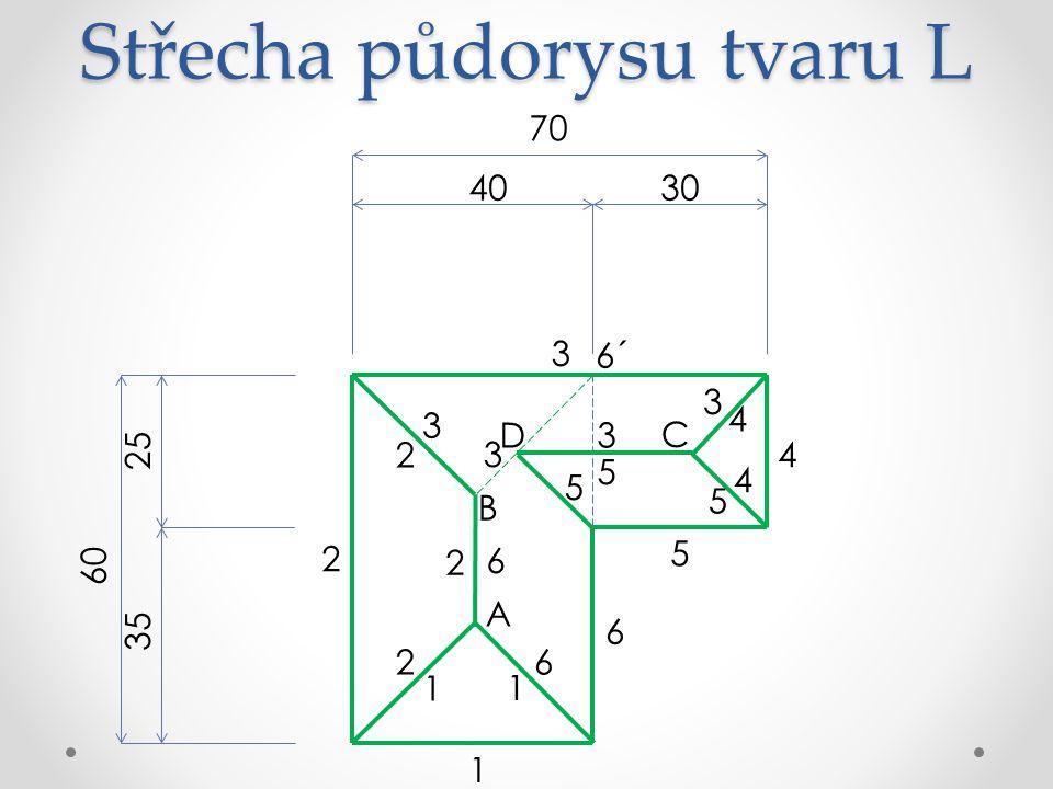 Střecha půdorysu tvaru L 70 3040 60 25 35 6 5 4 3 2 1 A 6´ B 1 1 3 3 2 2 2 6 6 C 4 4 D 3 3 5 5 5