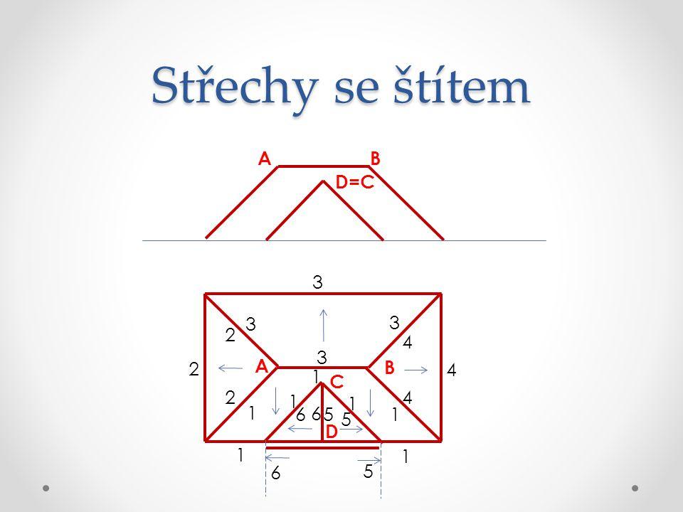 Střechy se štítem D C B A 6 1 1 1 1 1 1 1 2 2 2 3 3 3 3 5 4 4 4 6 6 5 5 D=C AB