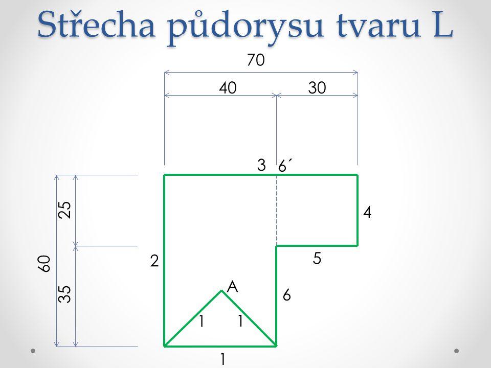 Střecha půdorysu tvaru L 70 3040 60 25 35 6 5 4 3 2 1 A 6´ 1 1