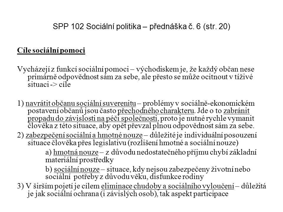SPP 102 Sociální politika – přednáška č. 6 (str. 20) Cíle sociální pomoci Vycházejí z funkcí sociální pomoci – východiskem je, že každý občan nese pri
