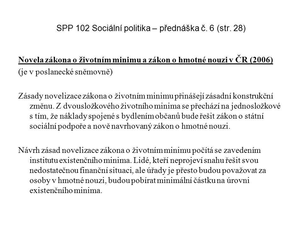 SPP 102 Sociální politika – přednáška č. 6 (str. 28) Novela zákona o životním minimu a zákon o hmotné nouzi v ČR (2006) (je v poslanecké sněmovně) Zás