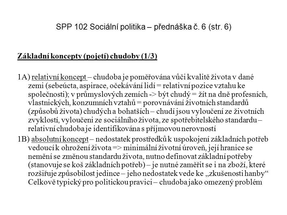 SPP 102 Sociální politika – přednáška č. 6 (str. 6) Základní koncepty (pojetí) chudoby (1/3) 1A) relativní koncept – chudoba je poměřována vůči kvalit