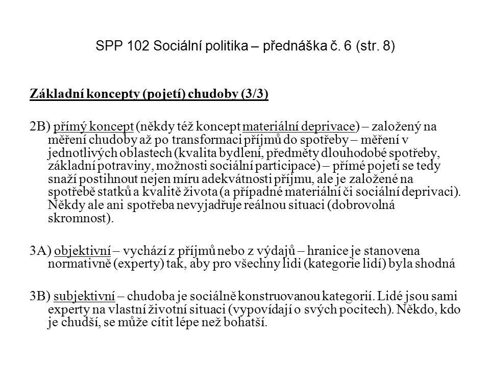 SPP 102 Sociální politika – přednáška č. 6 (str. 8) Základní koncepty (pojetí) chudoby (3/3) 2B) přímý koncept (někdy též koncept materiální deprivace