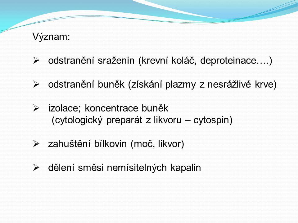 Význam:  odstranění sraženin (krevní koláč, deproteinace….)  odstranění buněk (získání plazmy z nesrážlivé krve)  izolace; koncentrace buněk (cytol