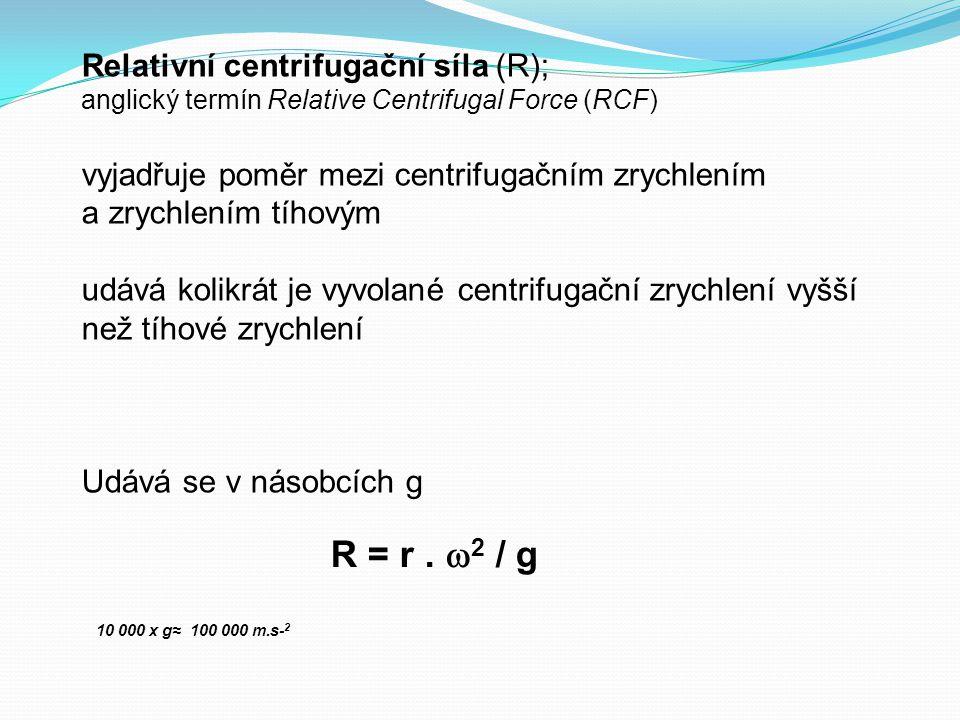 Relativní centrifugační síla (R); anglický termín Relative Centrifugal Force (RCF) vyjadřuje poměr mezi centrifugačním zrychlením a zrychlením tíhovým