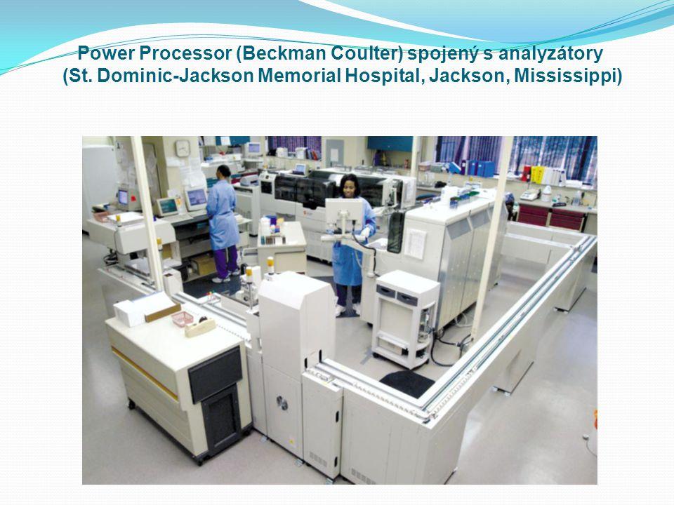 Power Processor (Beckman Coulter) spojený s analyzátory (St. Dominic-Jackson Memorial Hospital, Jackson, Mississippi)