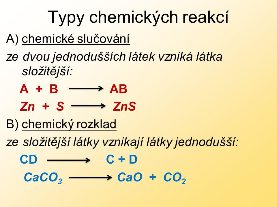 Typy chemických reakcí A)chemické slučování ze dvou jednodušších látek vzniká látka složitější: A + B AB Zn + S ZnS B) chemický rozklad ze složitější látky vznikají látky jednodušší: CD C + D CaCO 3 CaO + CO 2