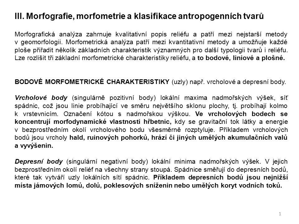 III. Morfografie, morfometrie a klasifikace antropogenních tvarů Morfografická analýza zahrnuje kvalitativní popis reliéfu a patří mezi nejstarší meto