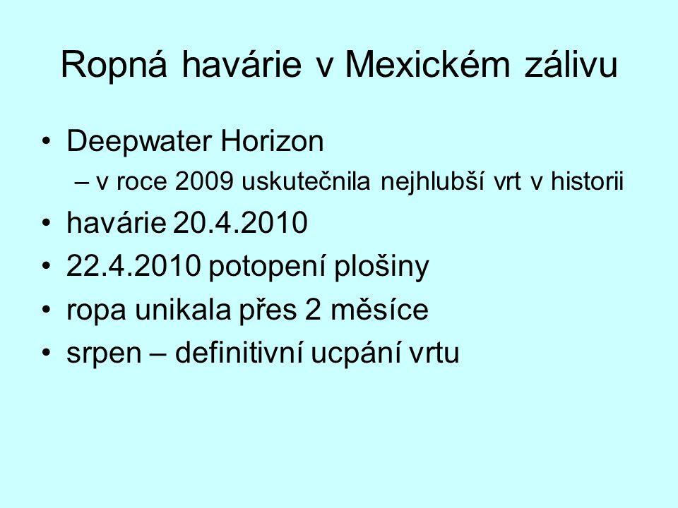Ropná havárie v Mexickém zálivu Deepwater Horizon –v roce 2009 uskutečnila nejhlubší vrt v historii havárie 20.4.2010 22.4.2010 potopení plošiny ropa