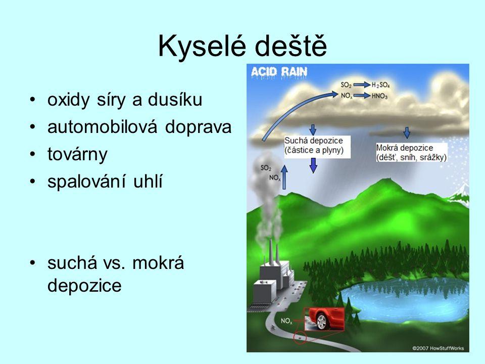 Kyselé deště oxidy síry a dusíku automobilová doprava továrny spalování uhlí suchá vs. mokrá depozice