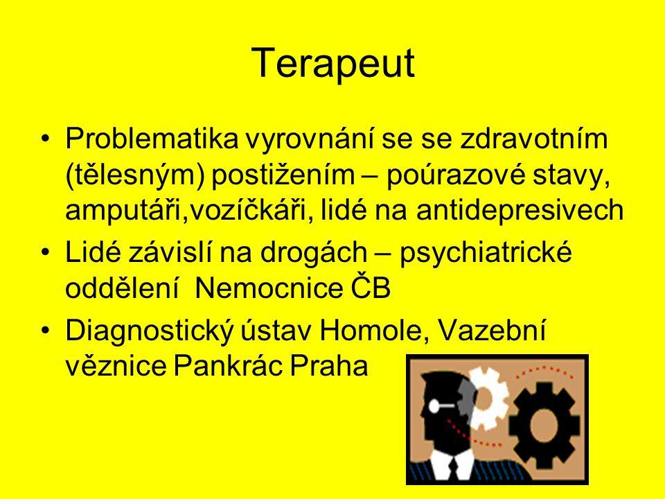 Terapeut - terapie Podpůrná nedirektivní psychoterpie Canisterpie – psi Arteterapie – barvy Dramaterapie – scénky, řešení problémů dramtem