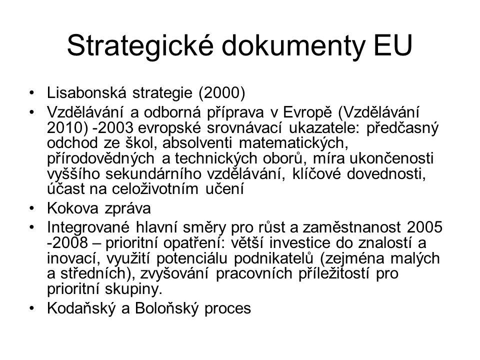 Strategické dokumenty EU Lisabonská strategie (2000) Vzdělávání a odborná příprava v Evropě (Vzdělávání 2010) -2003 evropské srovnávací ukazatele: předčasný odchod ze škol, absolventi matematických, přírodovědných a technických oborů, míra ukončenosti vyššího sekundárního vzdělávání, klíčové dovednosti, účast na celoživotním učení Kokova zpráva Integrované hlavní směry pro růst a zaměstnanost 2005 -2008 – prioritní opatření: větší investice do znalostí a inovací, využití potenciálu podnikatelů (zejména malých a středních), zvyšování pracovních příležitostí pro prioritní skupiny.