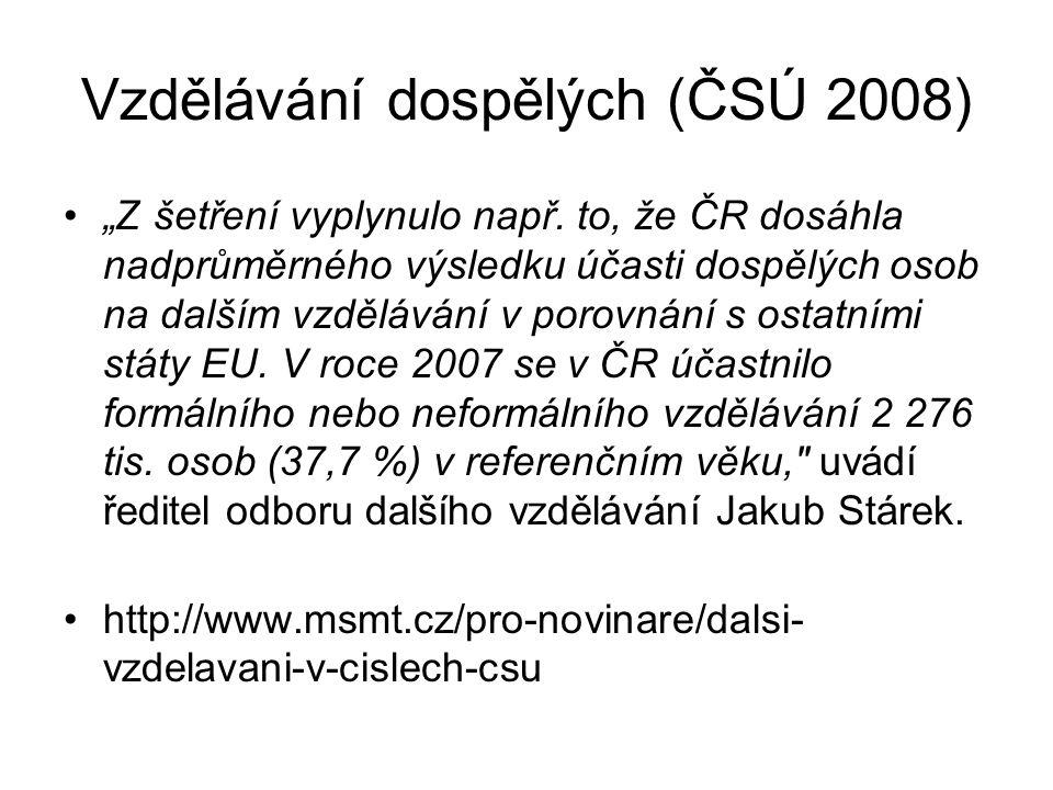 """Vzdělávání dospělých (ČSÚ 2008) """"Z šetření vyplynulo např."""