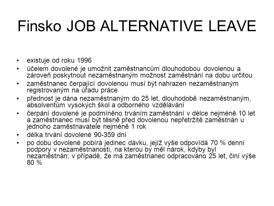 Finsko JOB ALTERNATIVE LEAVE existuje od roku 1996 účelem dovolené je umožnit zaměstnancům dlouhodobou dovolenou a zároveň poskytnout nezaměstnaným možnost zaměstnání na dobu určitou zaměstnanec čerpající dovolenou musí být nahrazen nezaměstnaným registrovaným na úřadu práce přednost je dána nezaměstnaným do 25 let, dlouhodobě nezaměstnaným, absolventům vysokých škol a odborného vzdělávání čerpání dovolené je podmíněno trváním zaměstnání v délce nejméně 10 let a zaměstnanec musí být těsně před dovolenou nepřetržitě zaměstnán u jednoho zaměstnavatele nejméně 1 rok délka trvání dovolené 90-359 dní po dobu dovolené pobírá jedinec dávku, jejíž výše odpovídá 70 % denní podpory v nezaměstnanosti, na kterou by měl nárok, kdyby byl nezaměstnán; v případě, že má zaměstnanec odpracováno 25 let, činí výše 80 %