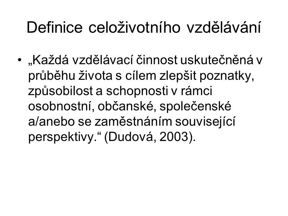 """Definice celoživotního vzdělávání """"Každá vzdělávací činnost uskutečněná v průběhu života s cílem zlepšit poznatky, způsobilost a schopnosti v rámci osobnostní, občanské, společenské a/anebo se zaměstnáním související perspektivy. (Dudová, 2003)."""